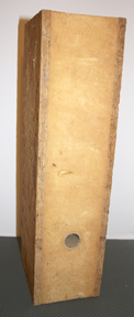 Portion of a SIP showing foam insulation sandwiched between two OSB skins
